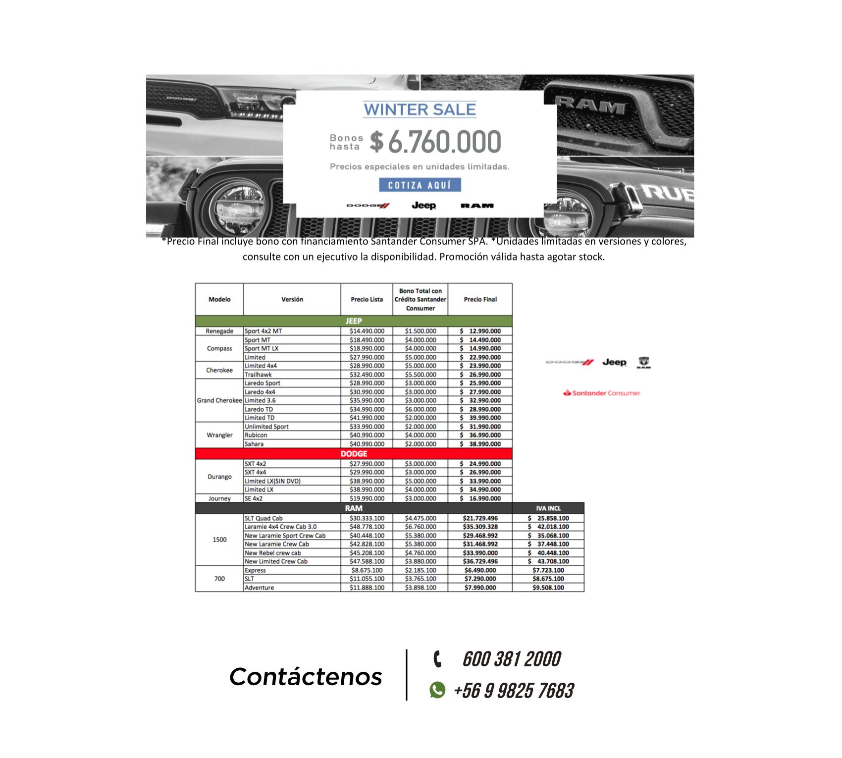 Lista de precios especiales Chrysler